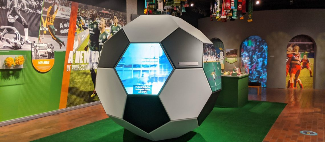 Video Screen in a Giant Soccer Ball in a Museum
