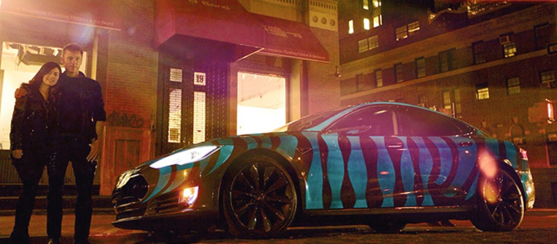 Tom Sepe and Leilani Munter with the OPS Tesla in NY. Photo by Andrew Eckmann